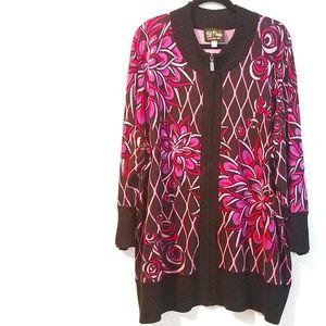 3X Bob Mackie Wearable Art Zip Up Cardigan Sweater